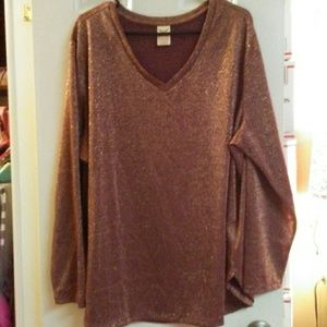 Sparkly Maroon & Gold Long Sleeve Blouse